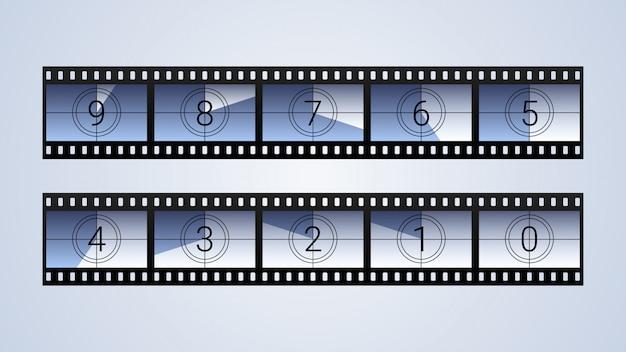 Film aftellende frames instellen Premium Vector