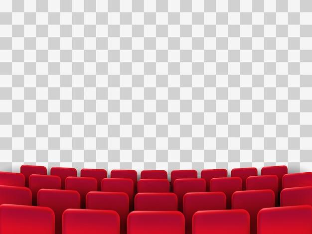 Film bioscoop première poster met rode stoelen. achtergrond. Premium Vector