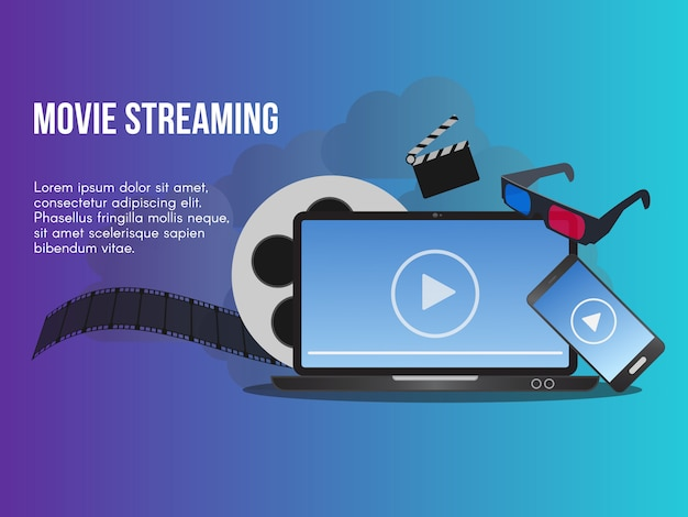 Film streaming concept Premium Vector