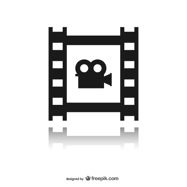 Film strip met pictogram Gratis Vector