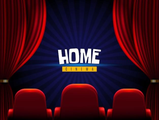 Film thuis. gordijnen en bioscoopstoelen Gratis Vector