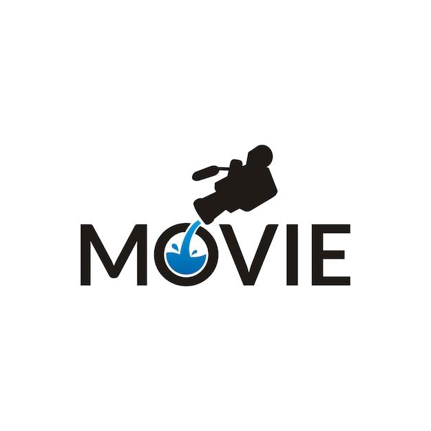 Film typografie logo ontwerp met camera en water Premium Vector