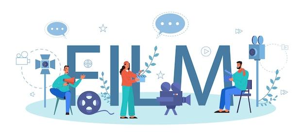 Film typografische koptekst concept. idee van creatieve mensen en beroep. filmregisseur die een filmproces leidt. klepel en camera, apparatuur voor het maken van films. Premium Vector