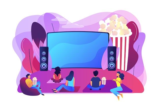 Filmavond met vrienden. film kijken op groot scherm met geluidssysteem. openluchtbioscoop, openluchtbioscoop, theateruitrusting in de achtertuin. heldere levendige violet geïsoleerde illustratie Gratis Vector