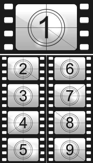 Filmnummer ingesteld Gratis Vector