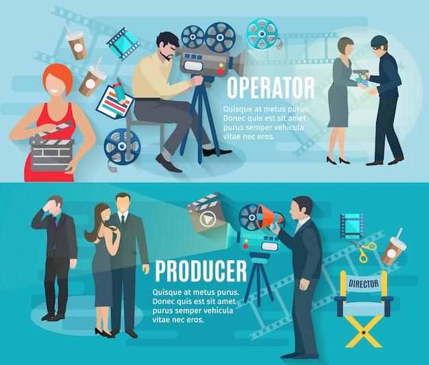 Filmopnamen van horizontale banners met exploitantproducent en acteurs Gratis Vector