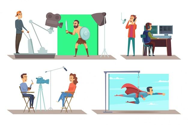 Filmproductie met acteurs op set Premium Vector
