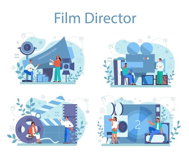 Filmregisseur concept set. idee van creatieve mensen en beroep. filmregisseur die een filmproces leidt. klepel en camera, apparatuur voor het maken van films. Premium Vector