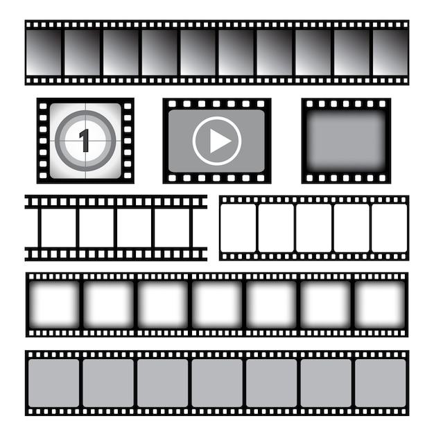 Filmstrip. bioscoop of foto tape film 35 mm strip rollen vector grafische sjabloon. filmband 35 mm, bioscoopframe filmstrip illustratie Premium Vector