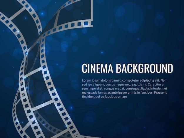 Filmstrip roll poster. filmproductie met realistische lege negatieven en tekst. bioscoop achtergrond Premium Vector