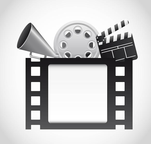 Filmstrook met bioscoopelementen over grijze achtergrondvector Premium Vector