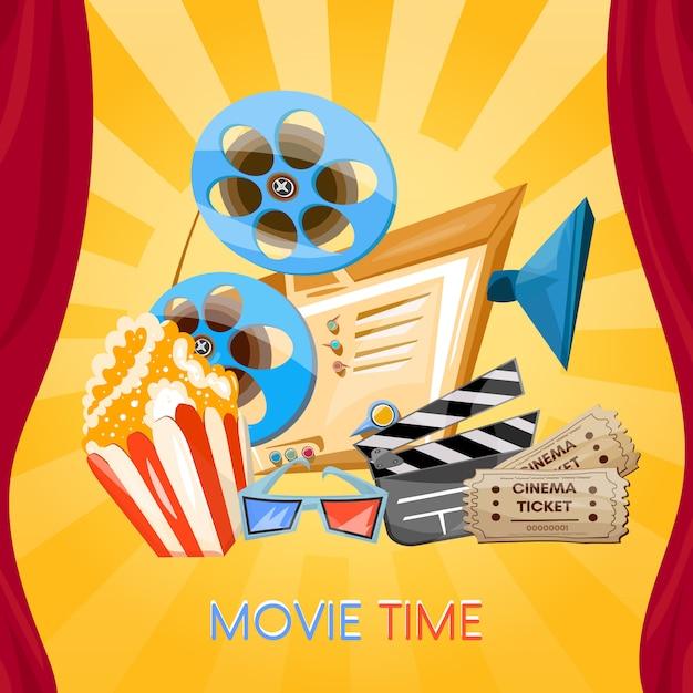 Filmtijd, bioscoop Premium Vector