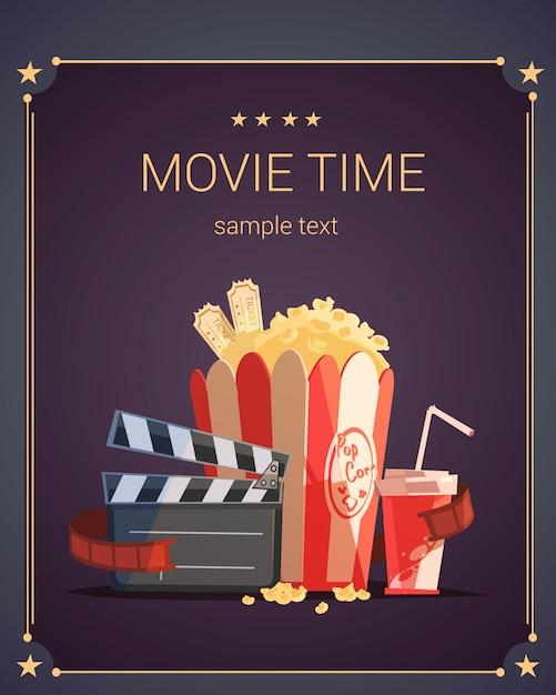 Filmtijd cartoon poster Gratis Vector