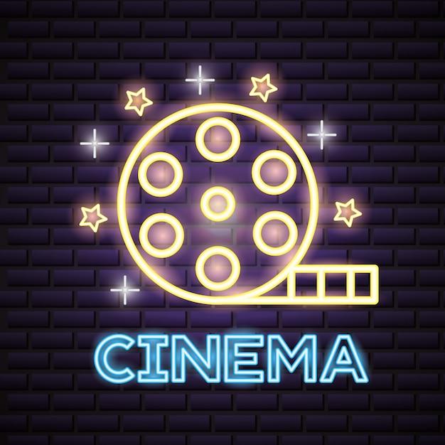 Filmtijd neon teken teken Gratis Vector