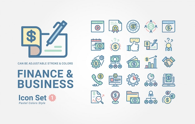 Finance & business icoon collectie Premium Vector