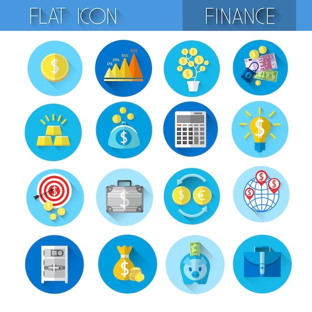 Finance collection kleurrijke financiële pictogrammenset Premium Vector