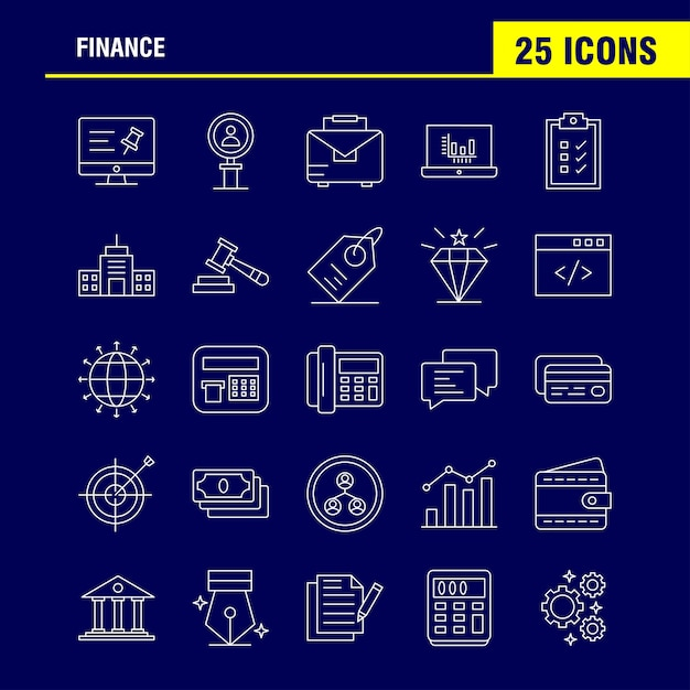 Finance line icons set voor infographics, mobile ux / ui kit Gratis Vector