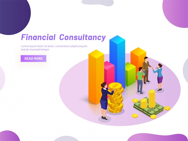 Financieel adviesconcept. Premium Vector