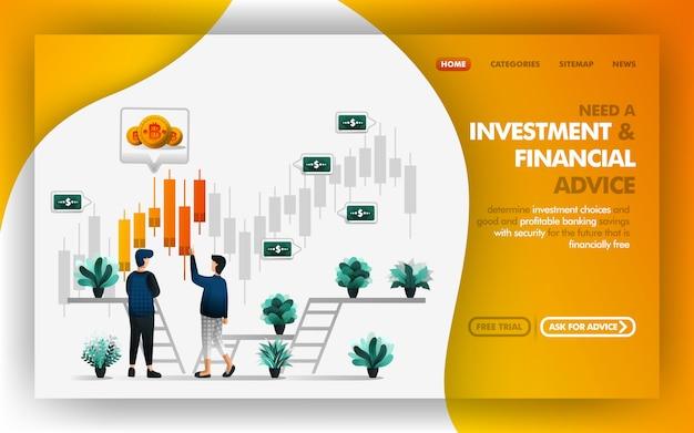 Financieel adviseur en beleggingsadviseur Premium Vector