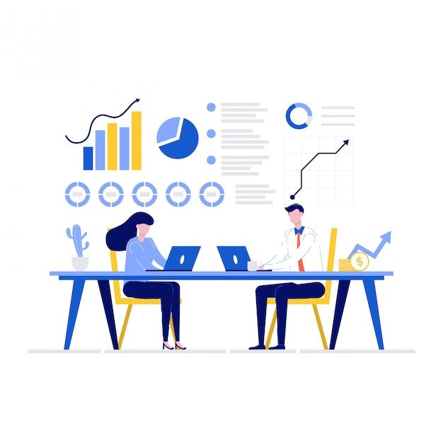 Financieel adviseur illustratie concept met karakters. mensen uit het bedrijfsleven analyseren samen gegevens. Premium Vector