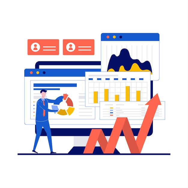Financieel auditconcept met karakter. financieel advies, boekhouding en boekhouding website homepage layout. Premium Vector