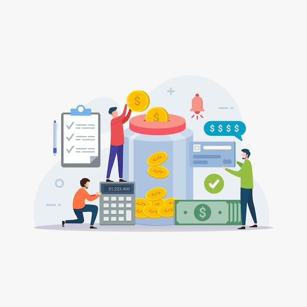 Financieel beheer en geld besparen Premium Vector
