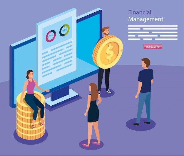 Financieel beheer met computer- en zakenmensen Premium Vector