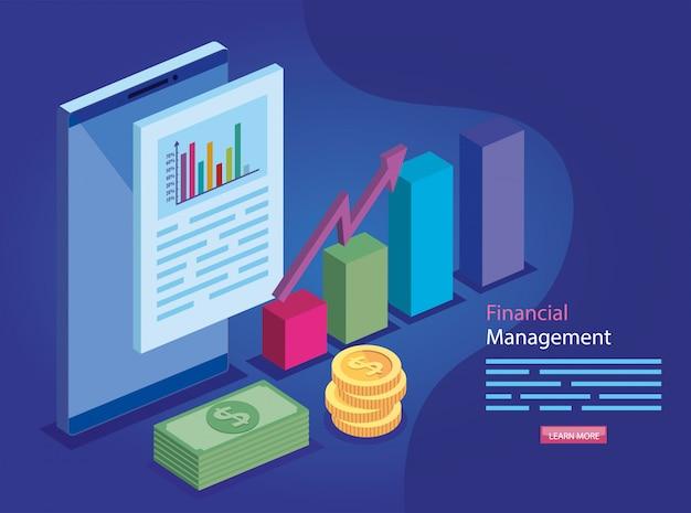 Financieel beheer met document Premium Vector
