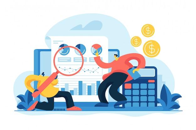 Financieel en het audit concept vectorillustratie Premium Vector