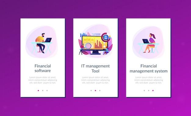 Financieel managementsysteem app interface sjabloon. Premium Vector