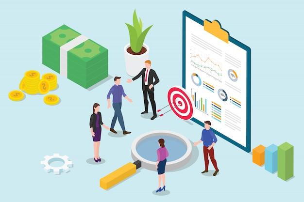 Financieel onderzoek analyse isometrische 3d met zakelijke team mensen bijeen Premium Vector