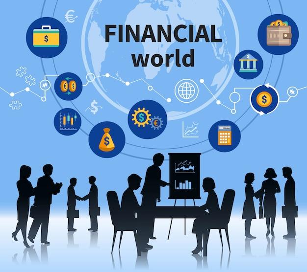 Financieel succesvol het bedrijfsconcept van de bedrijfswereld Gratis Vector