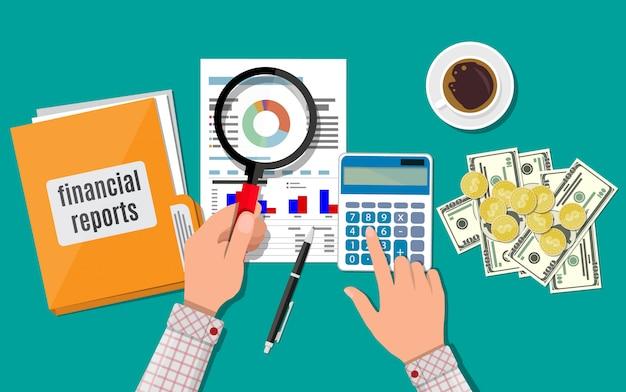 Financieel verslag concept. zakelijke werkruimte, bovenaanzicht Premium Vector