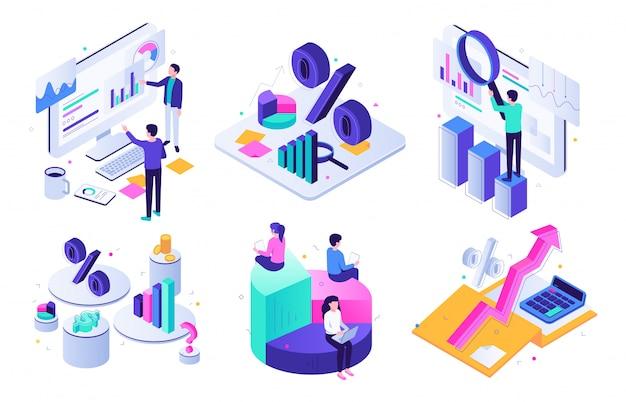 Financiële audit. begrotingsgrafiek, belastingdeskundige en zakelijke financiën balans waardering isometrische illustratie set Premium Vector