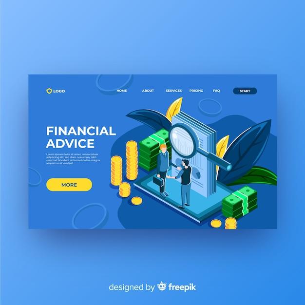 Financiële bestemmingspagina voor advies Gratis Vector