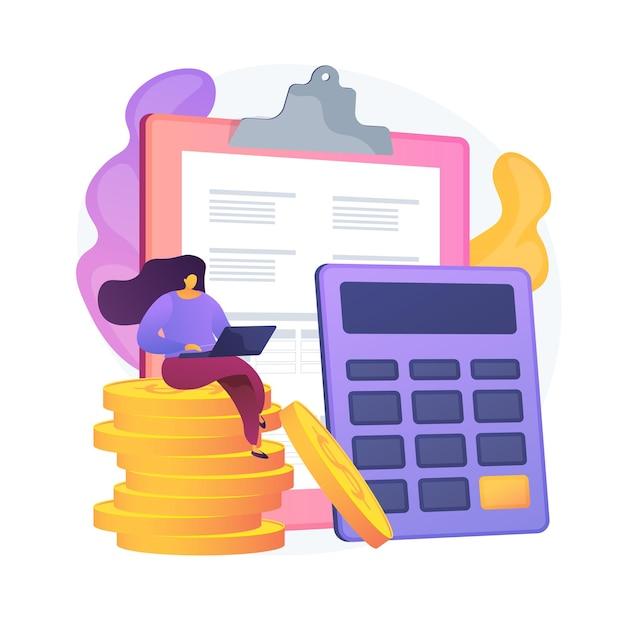 Financiële boekhouding. vrouwelijke accountant stripfiguur financieel verslag maken. samenvatting, analyse, rapportage. jaarrekening, inkomen en saldo. vector geïsoleerde concept metafoor illustratie Gratis Vector