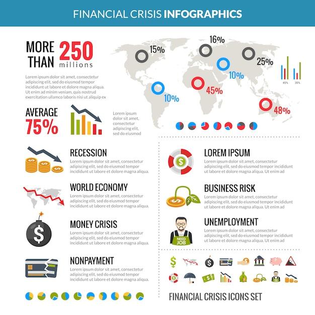 Financiële crisis recessie statistiek infographics lay-out Gratis Vector