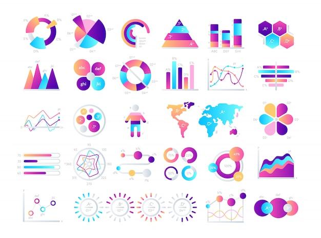 Financiële en marketinggrafieken. zakelijke gegevens grafieken. illustratie van gegevens financiële grafiek en diagram. Premium Vector