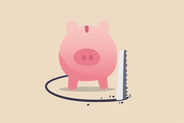 Financiële fout, investeringsrisico en geldverlies in economische crisis of overval en fraudeconcept, rijke roze spaarvarken die onder de vloer wordt gezaagd om geld te stelen. Premium Vector