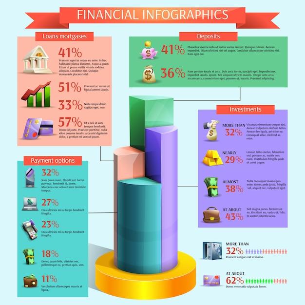 Financiële infographic set Gratis Vector