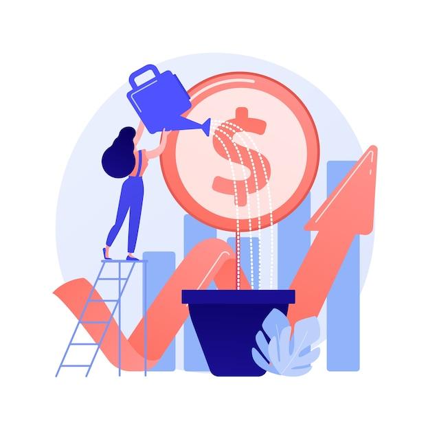Financiële investering. markttrendsanalyse, investeren in lucratieve gebieden, gericht op winstgevende projecten. zakenvrouw financiering zakelijke project concept illustratie Gratis Vector