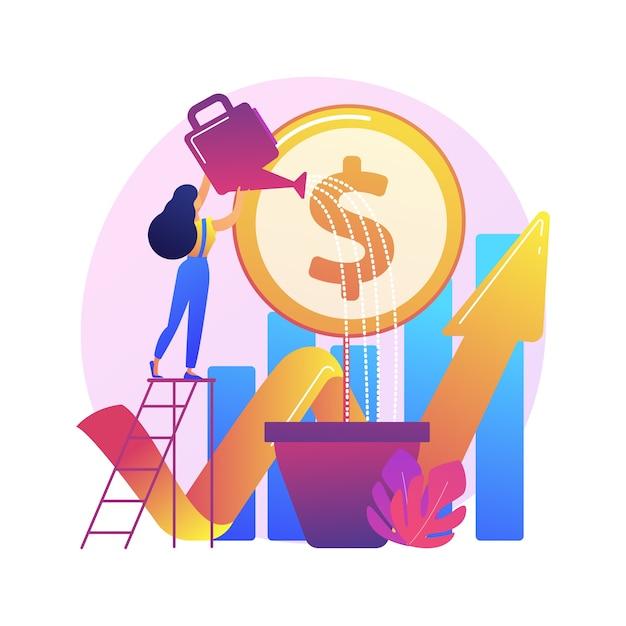 Financiële investering. markttrendsanalyse, investeren in lucratieve gebieden, gericht op winstgevende projecten. Gratis Vector