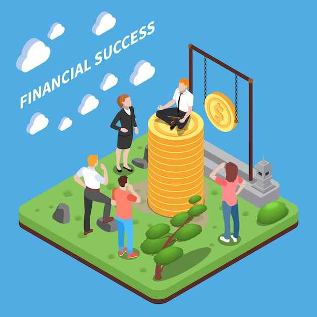 Financiële succes isometrische samenstelling menselijke personages kijken naar de mens bovenop hoop geld Gratis Vector