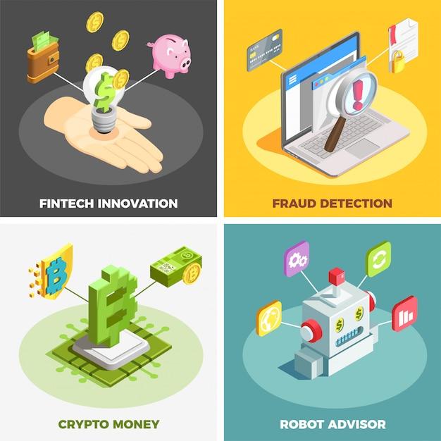 Financiële technologie 2x2 ontwerpconcept Gratis Vector