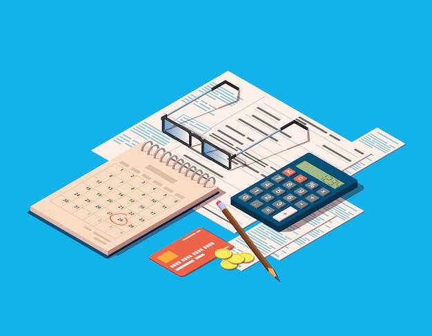 Financiële verrichtingen pictogram omvatten facturen, rekenmachine, kalender en creditcard Premium Vector
