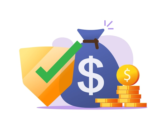 Financiële verzekering geldbeschermingsgaranties, contante veilige investering, besparingen veiligheidscontrole vlakke afbeelding Premium Vector