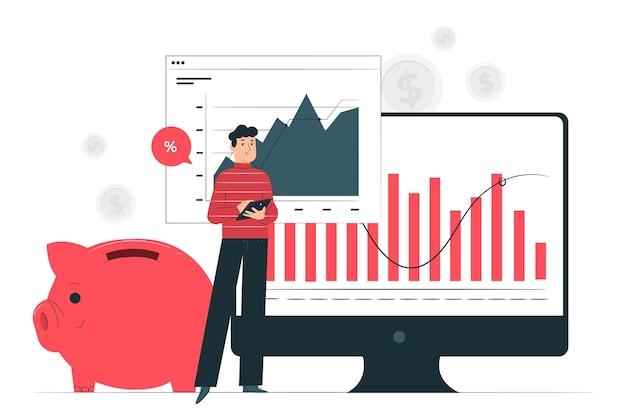 Financiën illustratie concept Gratis Vector