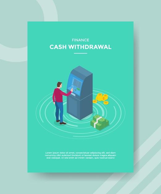 Financiering van geldopname mannen voor geldautomaat voor sjabloonvlieger Gratis Vector