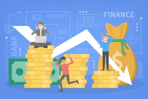 Financieringscrisis met dalende grafiek en gelddaling. idee van faillissement en risico. flat vector illustratie Premium Vector