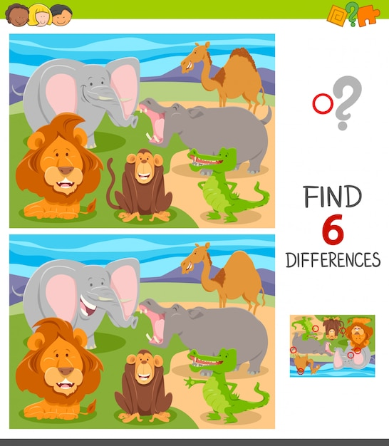 Find six differences between pictures game Premium Vector